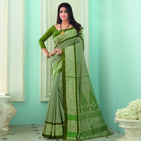 Lovely Green Colored Casual Wear Printed Bhagalpuri Saree