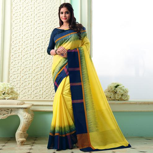 Pleasance Yellow Colored Casual Wear Printed Bhagalpuri Saree