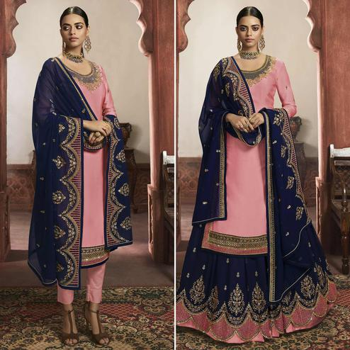 Sophisticated Pink Colored Partywear Embroidered Satin Dual Bottom Suit