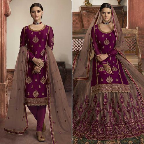 Elegant Rani Pink Colored Partywear Embroidered Rangoli Satin Dual Bottom Suit