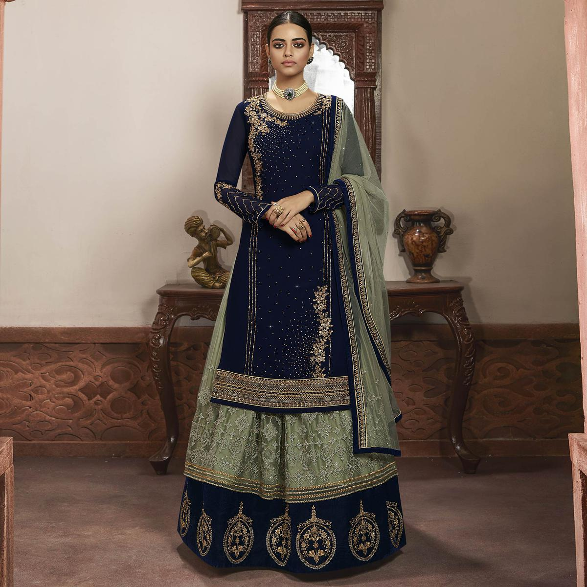 Radiant Royal Blue Colored Partywear Embroidered Georgette Lehenga Suit