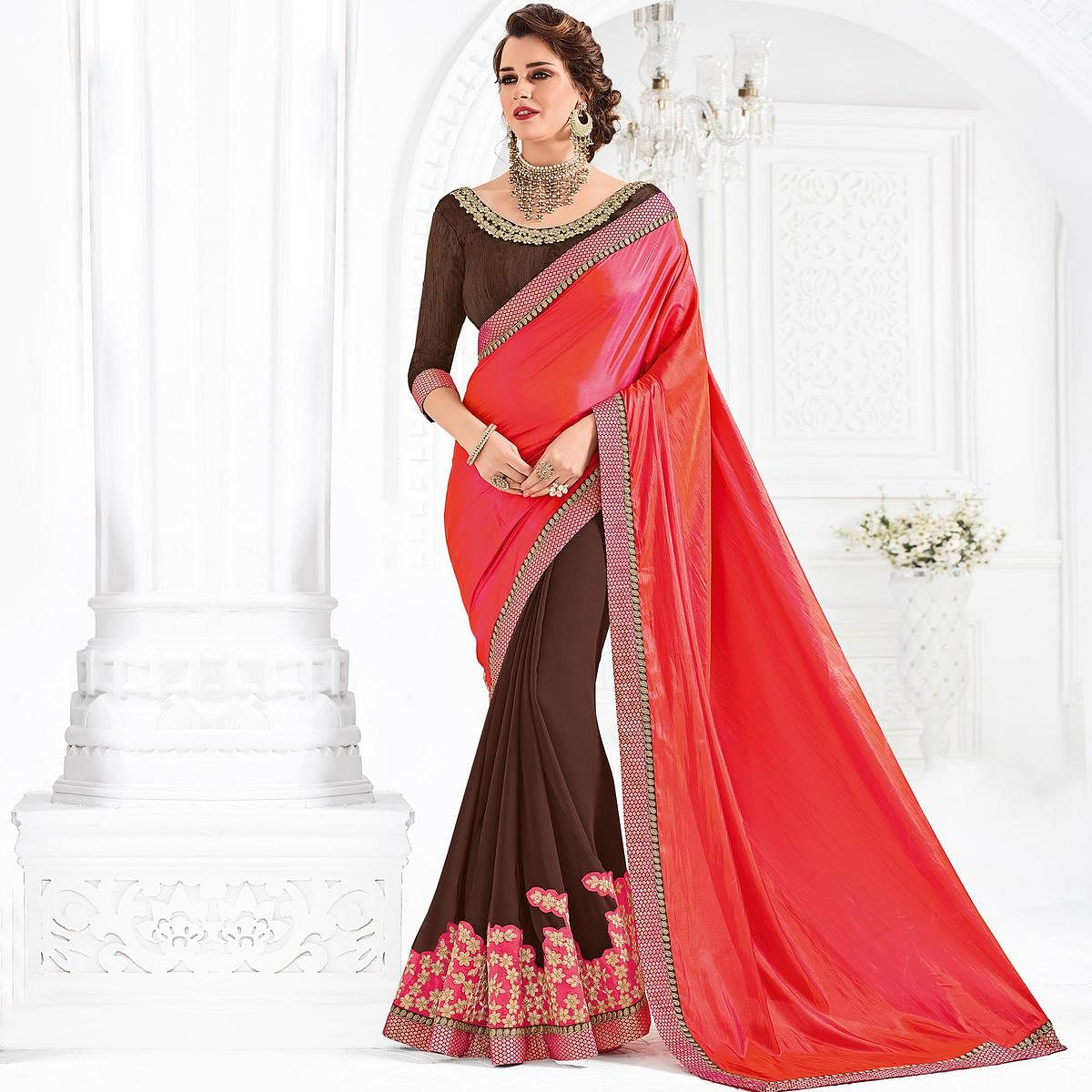 Orange And Maroon Colored Designer Embroidered Silk And Georgette Saree