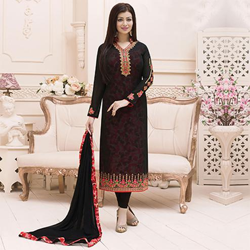 Black Faux Georgette Long Length Suit