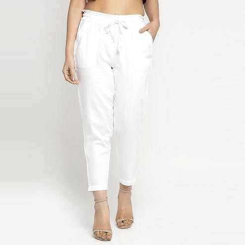 Ayaany - White Colored All Purpose Casual Cotton Pants With Smart Fit