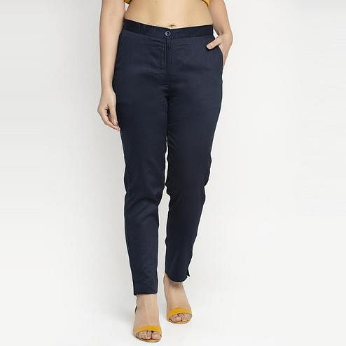 Ayaany - Blue Colored All Purpose Casual Cotton Pants With Smart Fit