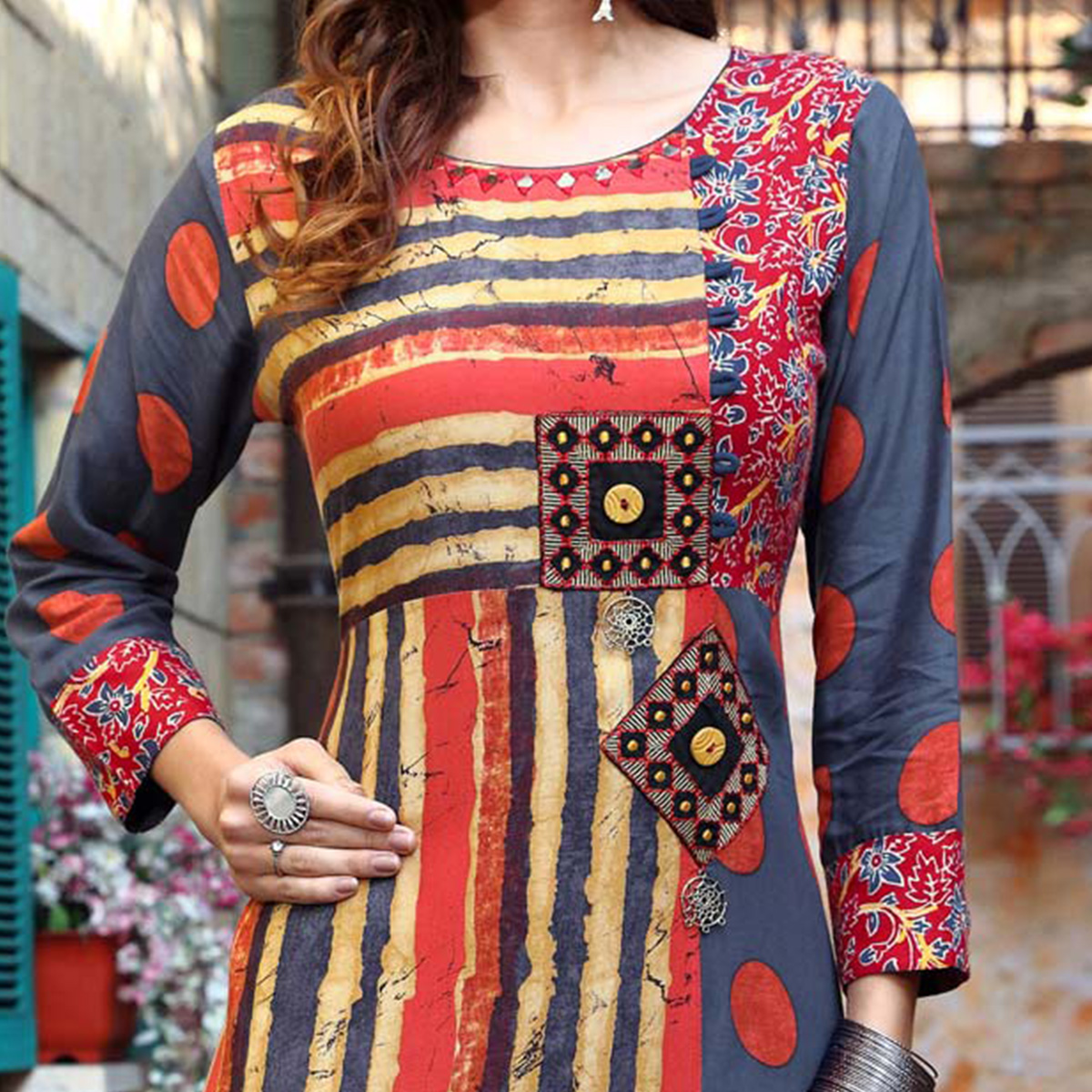 Beautiful Multi Colored Designer Partywear Printed Cotton Kurti