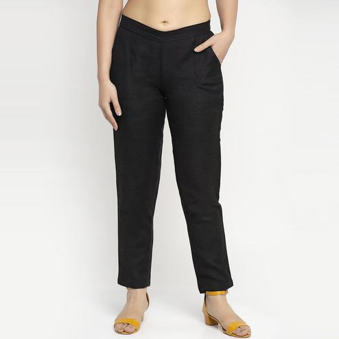 Ayaany - Black Colored All Purpose Casual Cotton Pants With Smart Fit
