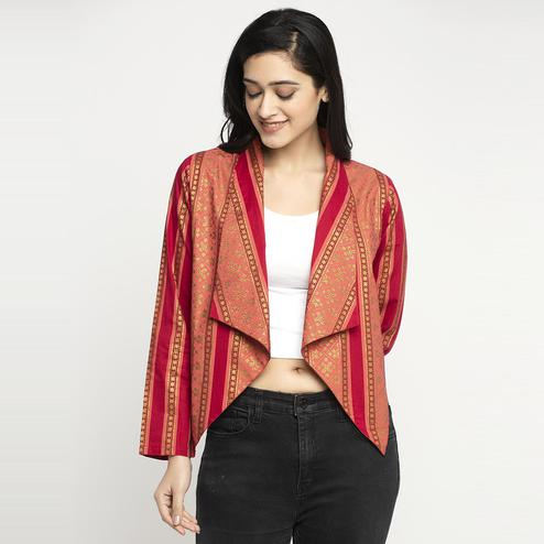 Ayaany - Women Red Colored Casual Printed Cotton Shrug
