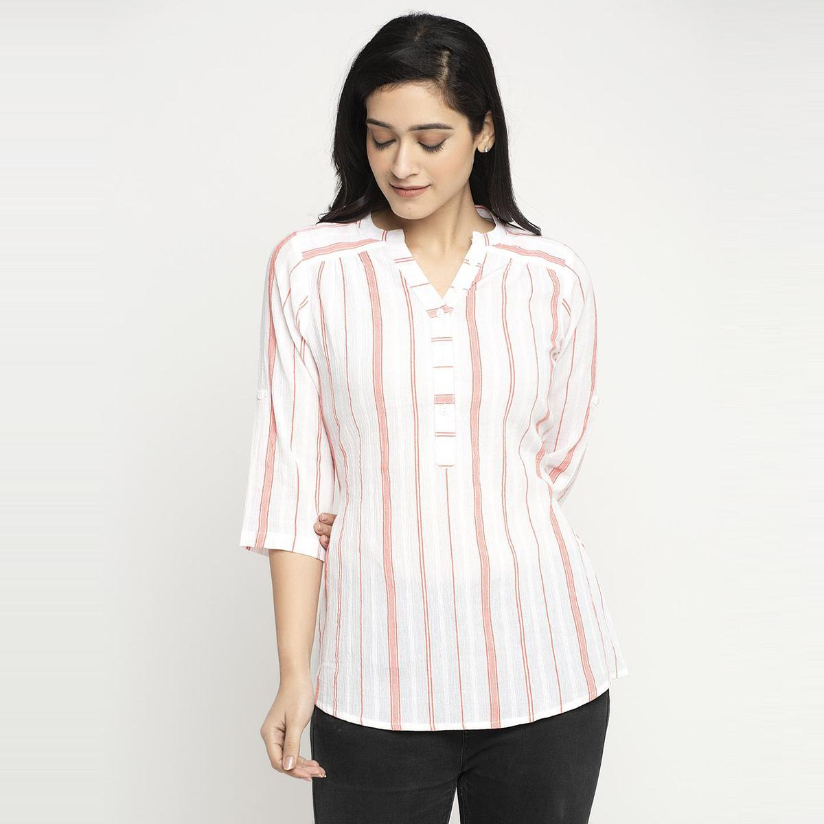 Ayaany - Women White Colored Casual Printedd Cotton Top