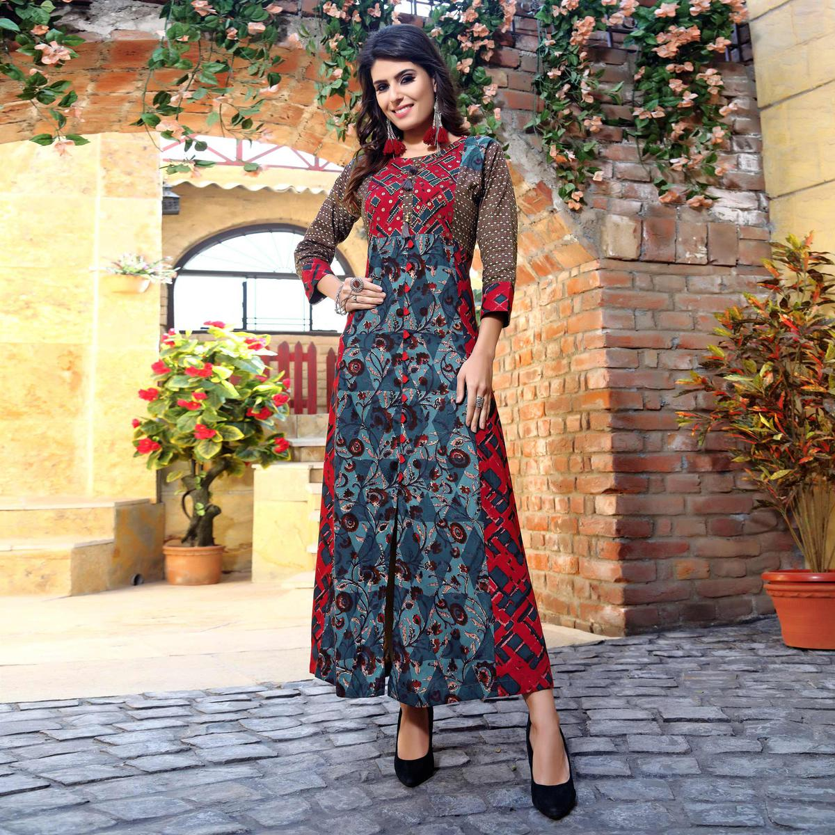 Graceful Multi Colored Designer Partywear Printed Cotton Kurti