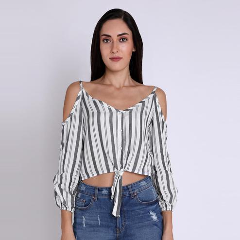 Chimpaaanzee - White Colored Casual Striped Printed Cold Shoulder Viscose Top