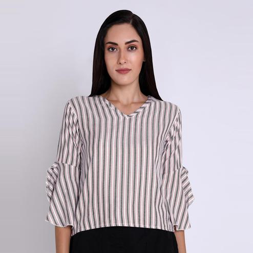 Chimpaaanzee - white Colored Casual Striped Printed Viscose Top