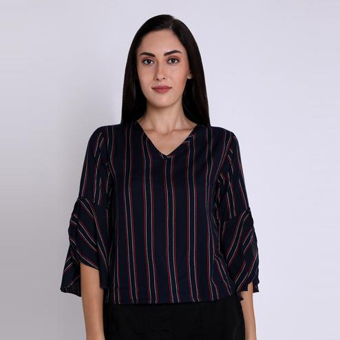 Chimpaaanzee - Navy Blue Colored Casual Striped Printed Viscose Top