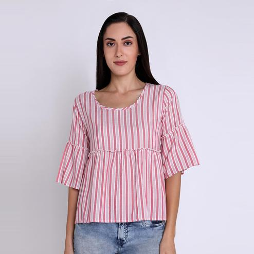 Chimpaaanzee - Pink Colored Casual Striped Printed Viscose Top