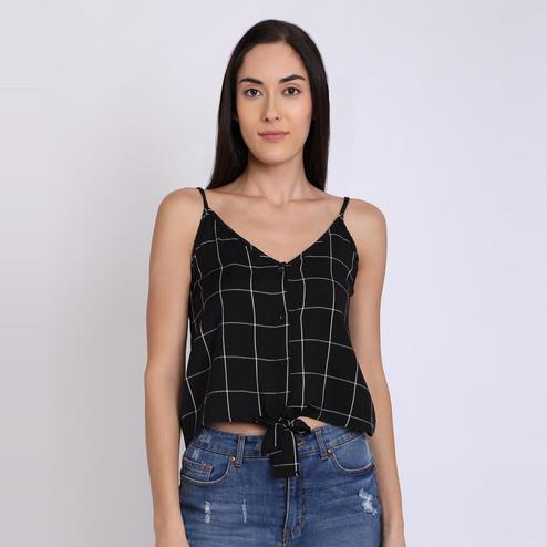 Chimpaaanzee - Black Colored Casual Checked Viscose Top