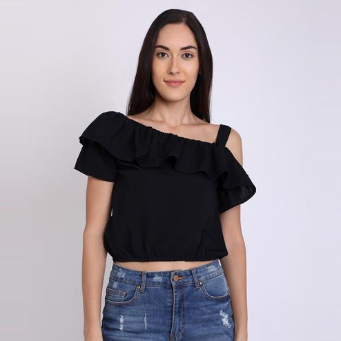 Chimpaaanzee - Black Colored Casual Polyester Top