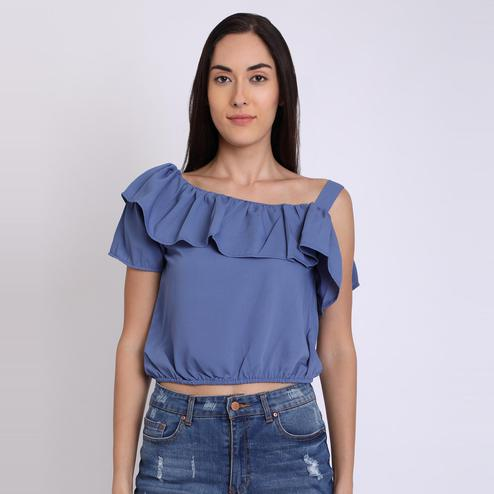 Chimpaaanzee - Blue Colored Casual Polyester Top