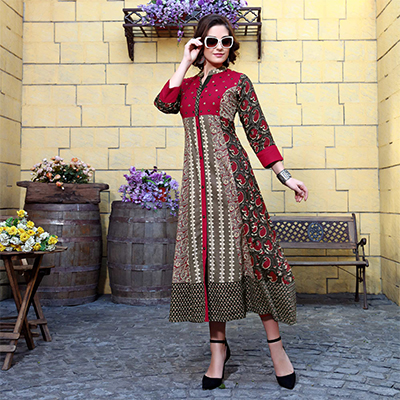 Stunning Multi Colored Designer Partywear Printed Cotton Kurti