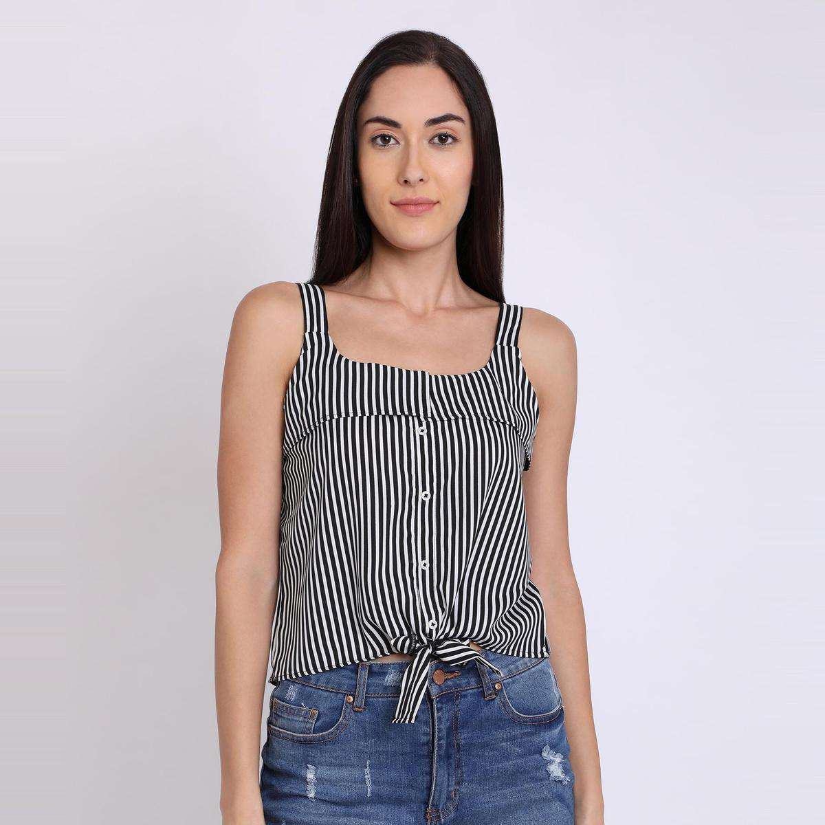 Chimpaaanzee - Black Colored Casual Striped Printed Crepe Top