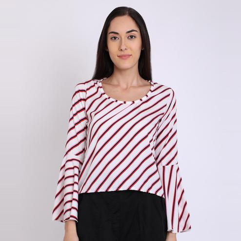 Chimpaaanzee - White Colored Casual Striped Printed Crepe Top