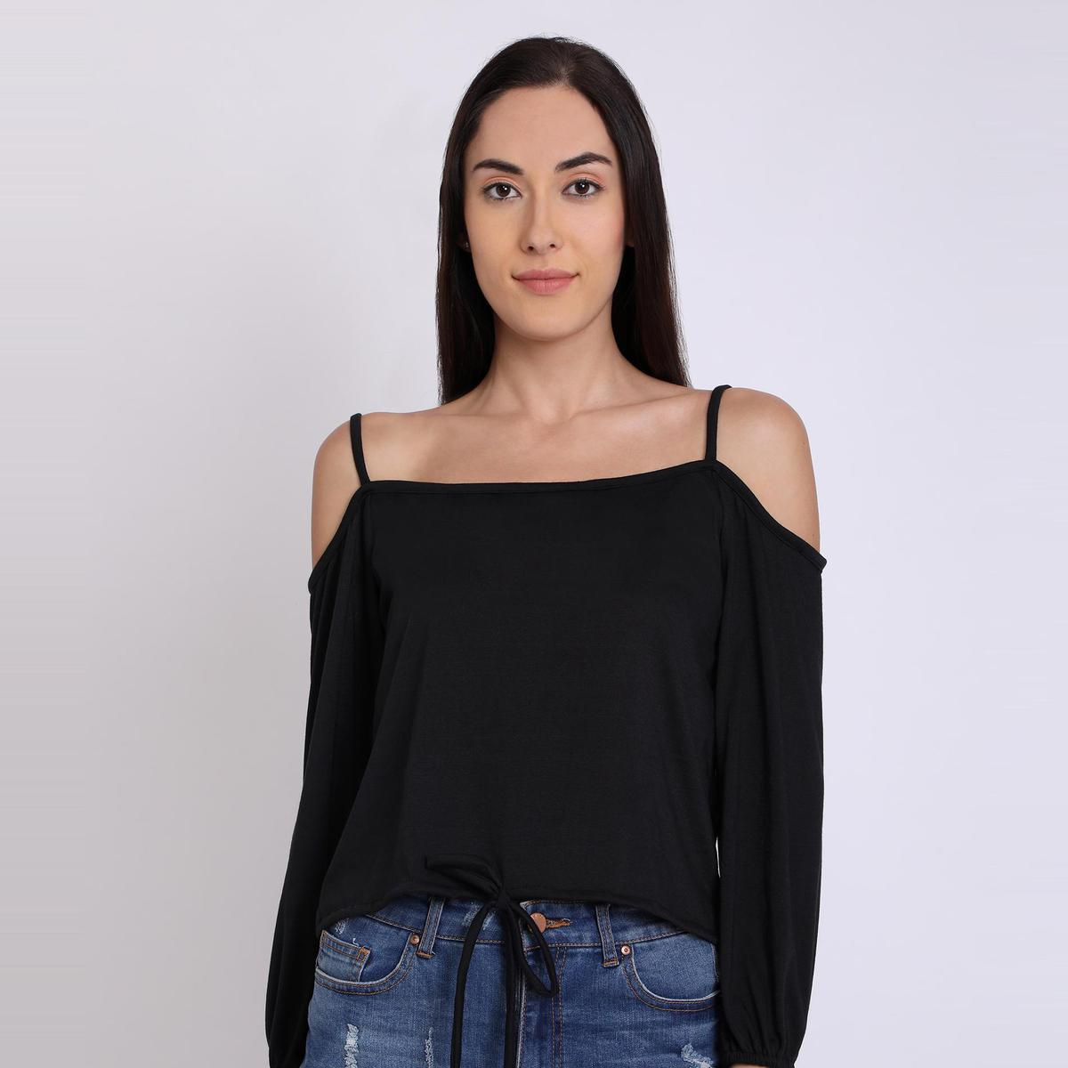 Chimpaaanzee - Black Colored Casual Cold Shoulder Poly viscose Top