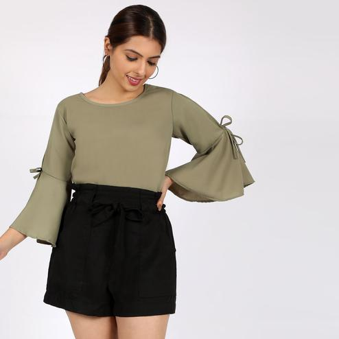 Chimpaaanzee - Olive Green Colored Casual Bell Sleeves Polyester Top