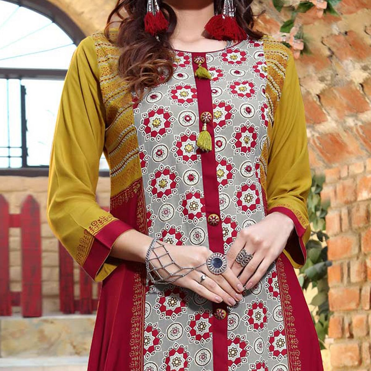 Charming Multi Colored Designer Partywear Printed Cotton Kurti
