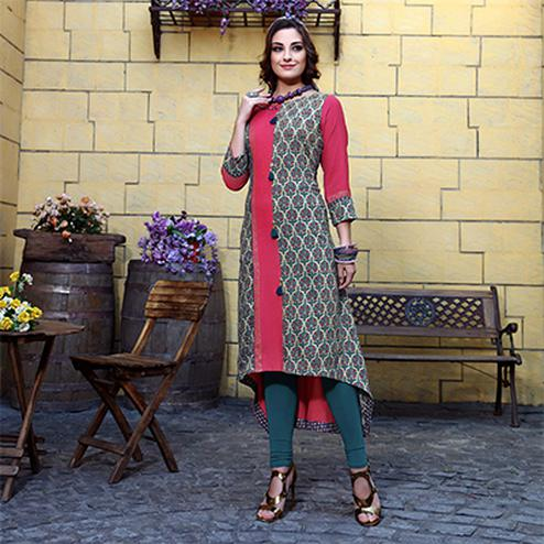Elegant Multi Colored Designer Partywear Printed Cotton Kurti