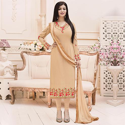 Beige Color Festive Wear Georgette Suit