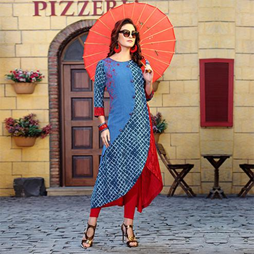 Stylish Blue Colored Designer Partywear Printed Cotton Kurti