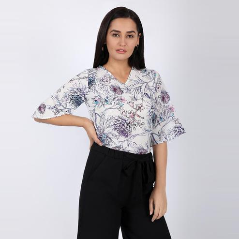 Chimpaaanzee - White Colored Casual Printed poly crepe Top