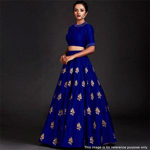 Gorgeous Blue Designer Embroidered Tapetta Silk Lehenga Choli