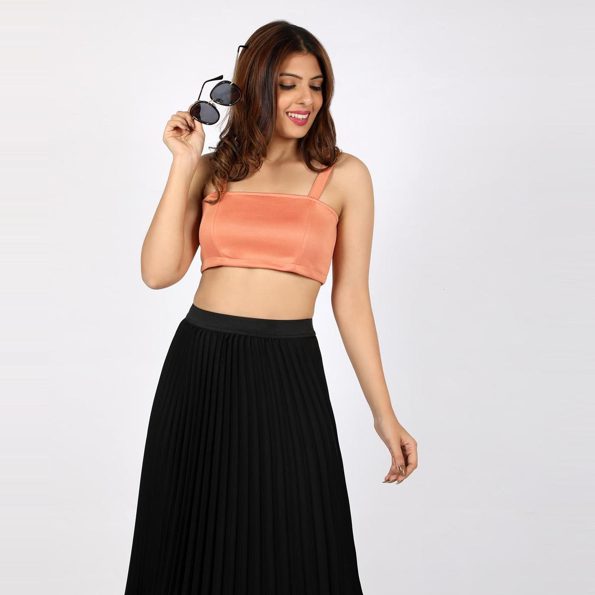 Chimpaaanzee - Peach Colored Casual Polyester Top
