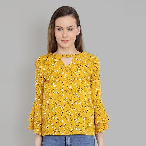 Chimpaaanzee - Yellow Colored Casual Floral Printed Crepe Top