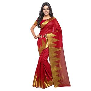 Red Festive Wear Banarasi Cotton Silk Saree