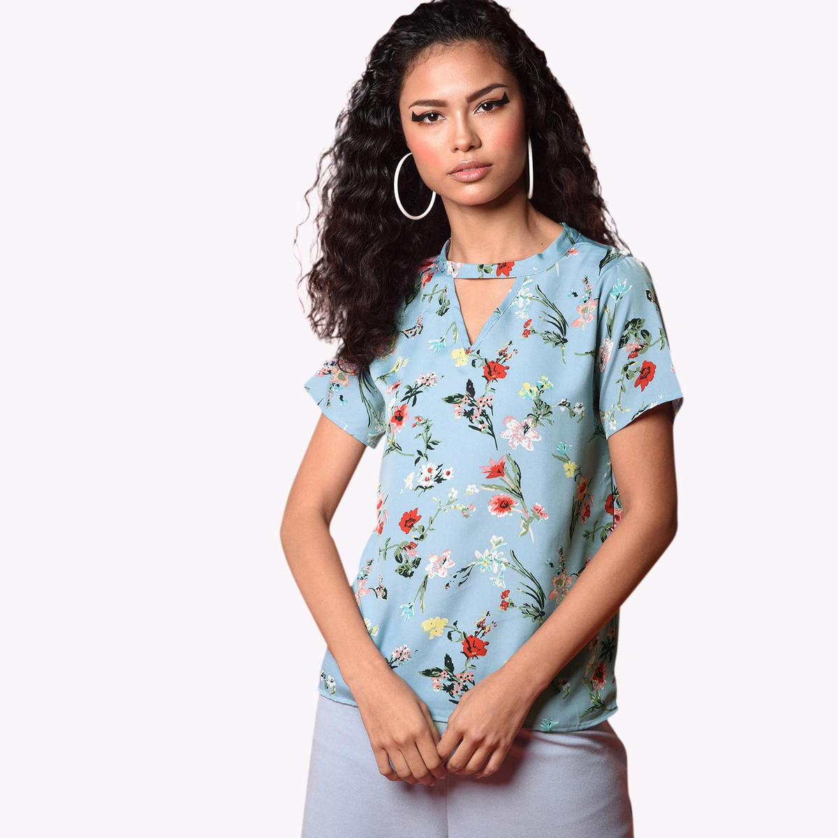 Chimpaaanzee - Light Blue Colored Casual Crepe Top