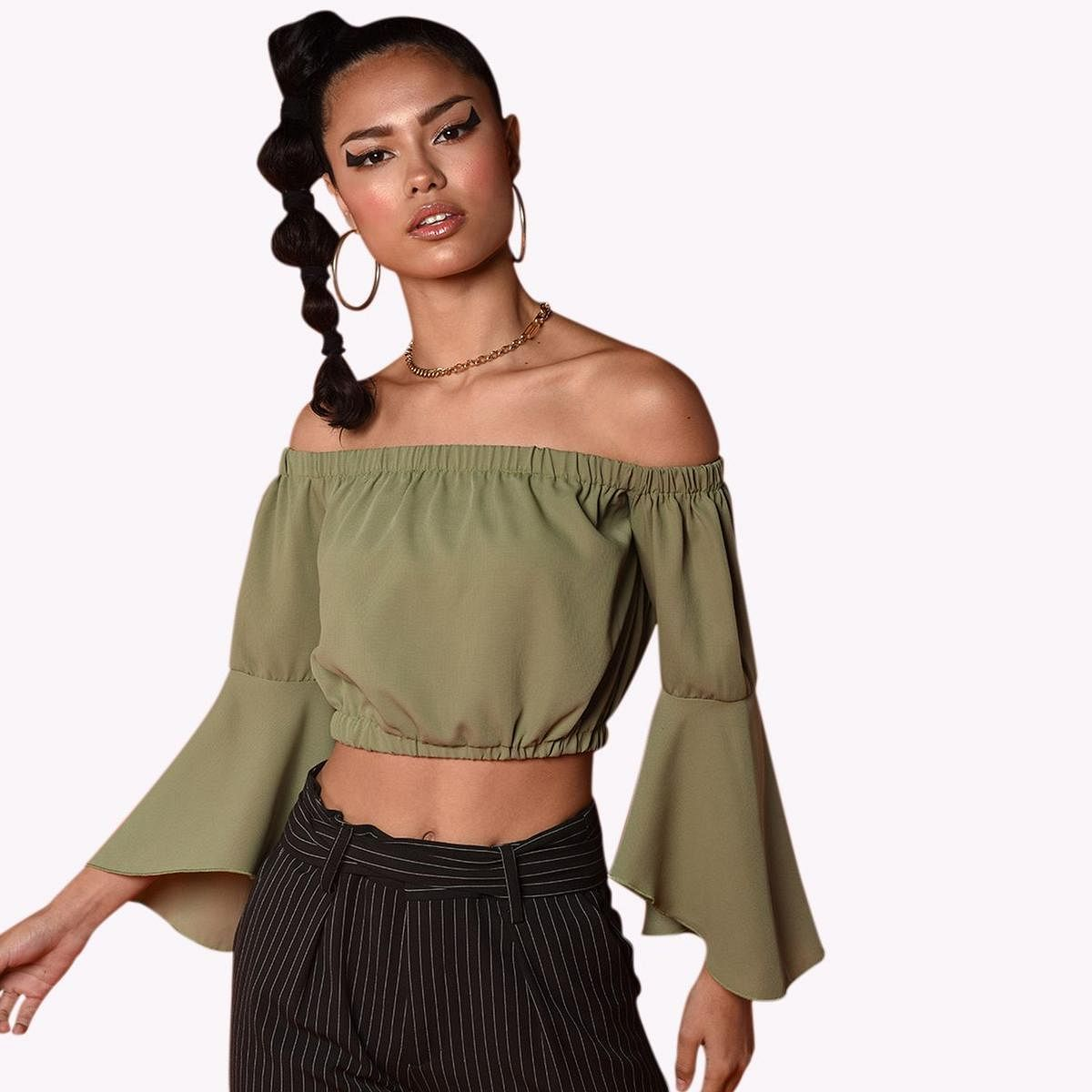 Chimpaaanzee - Green Colored Casual Poly Crepe Top