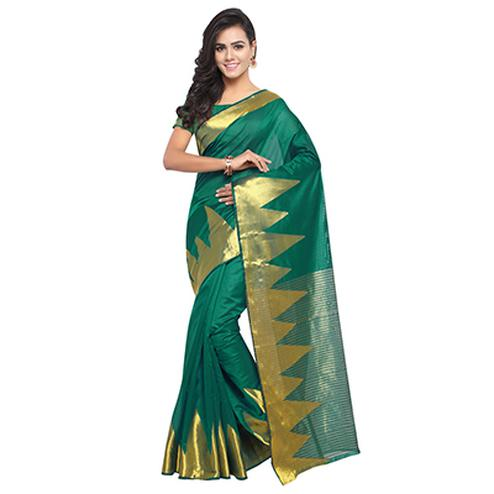 Green Festive Wear Banarasi Cotton Silk Saree