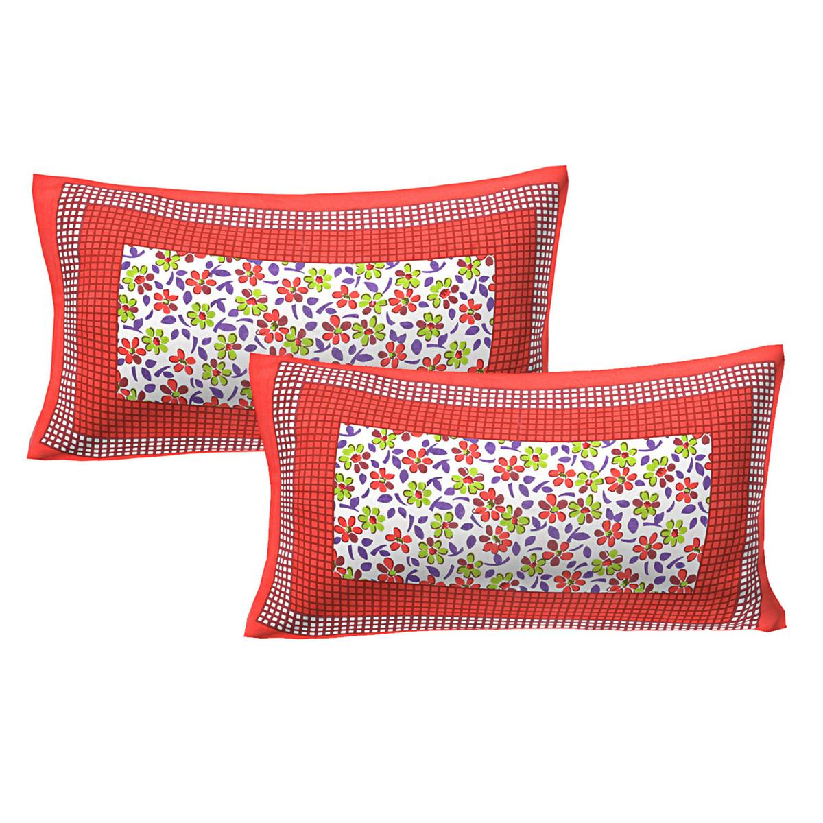AJ Home - Red Colored 100% Cotton Printed Pillow Cover Set (2 Pieces)