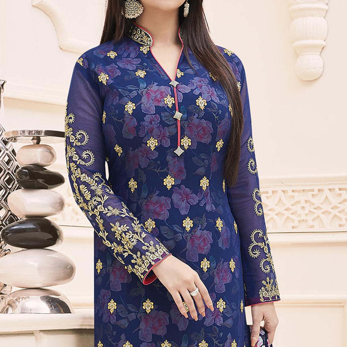 Blue Embroidered Work Churidar Suit