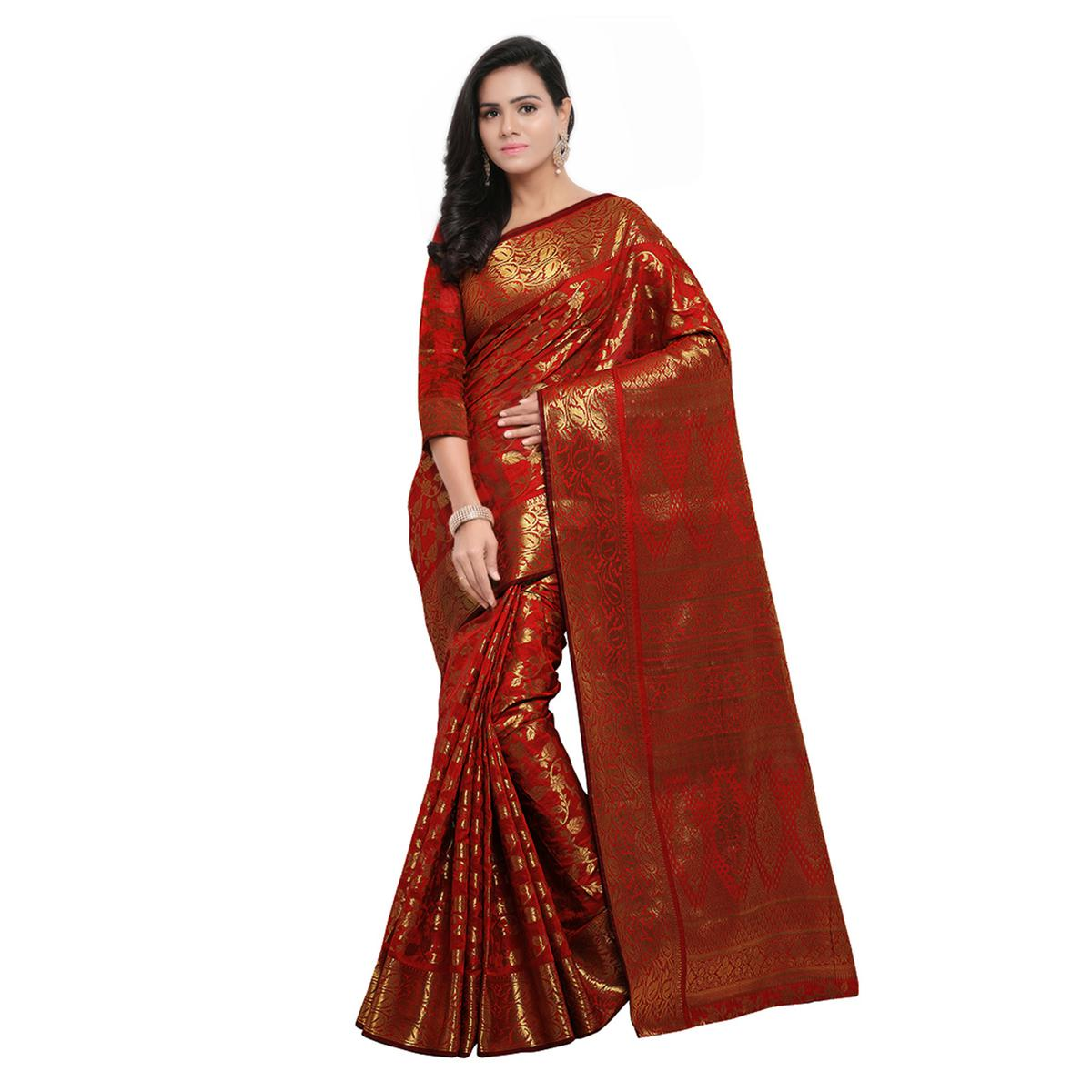 Maroon Festive Wear Banarasi Art Silk Saree
