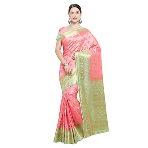 Peach Festive Wear Banarasi Art Silk Saree