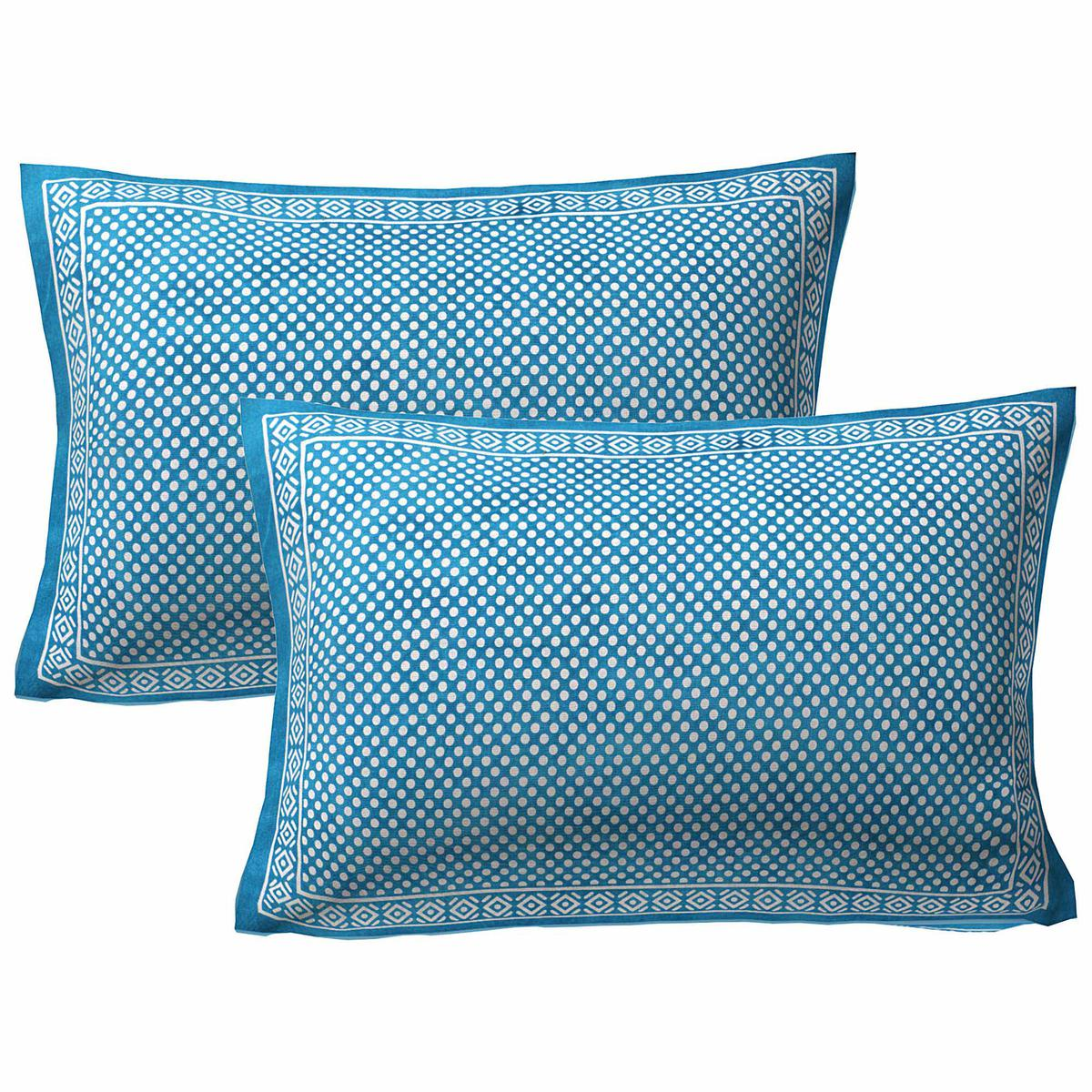 AJ Home - Green Colored 100% Cotton Printed Pillow Cover Set (2 Pieces)
