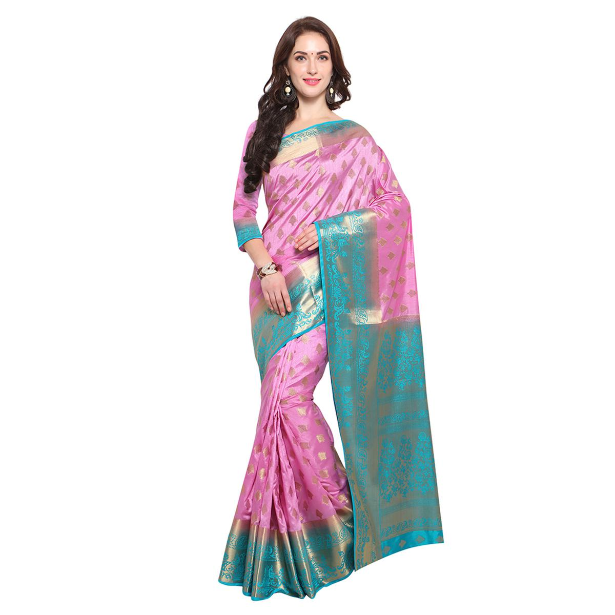 Pink Festive Wear Banarasi Art Silk Saree