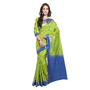 Green & Blue Festive Wear Banarasi Art Silk Saree