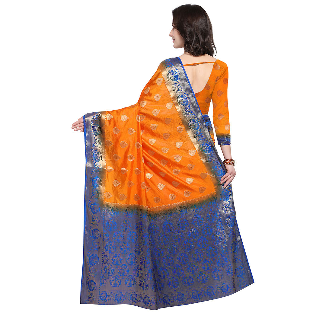 Orange & Blue Festive Wear Banarasi Art Silk Saree