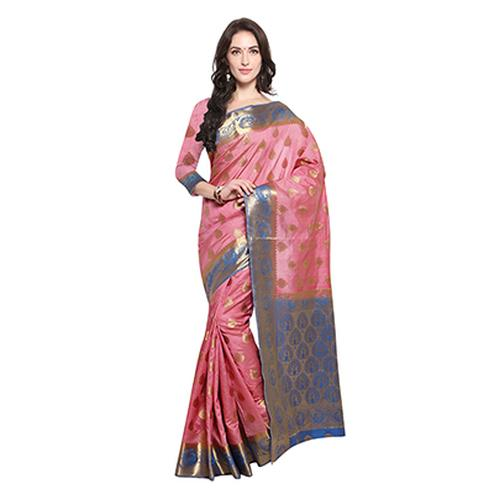 Pink & Blue Festive Wear Banarasi Art Silk Saree