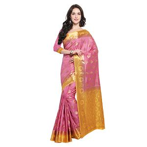 Pink & Yellow Festive Wear Banarasi Art Silk Saree