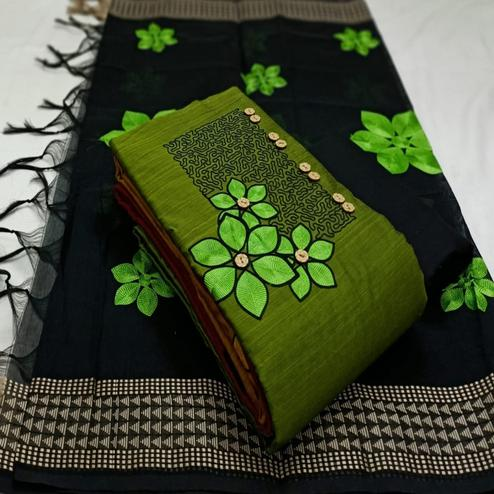 Flaunt Green Colored Partywear Embroidered Cotton Dress Material