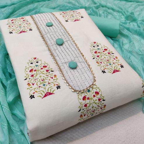 Glorious White - Aqua Blue Colored Casual Wear Printed Cotton Dress Material